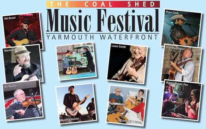 10th Annual Coal Shed Music Festival 2016 August 12-14 and August 19-21 and August 26-28 –nine days and nights of great music, with over 150 performers. Besides the main stage (the Coal Shed at the Killam Brothers Wharf), a second stage not far away will provide a chance to showcase even more talent in 2016, located on the wharf behind Rudders.